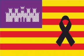 Balearic flag with black crepe
